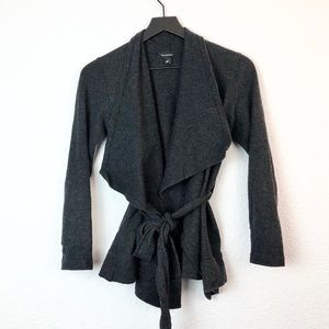 Club Monaco M Wool Jacket Sweater Belted Gray